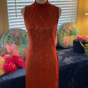 NY&Co burnt orange color lace dress lined w/nude